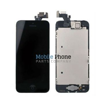 Apple iPhone 5C LCD + Digitiser Complete Black With Parts - Front Camera / Earpiece / Home Button